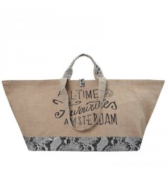 ALL TIME FAVOURITES Burlap Jute/Python Natural Logo shopper
