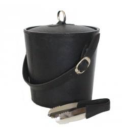 Ice Bucket Black Leather
