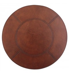 Placemat round 40 tan leather