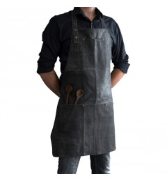 Stuff Apron leather forklæde - Vintage black